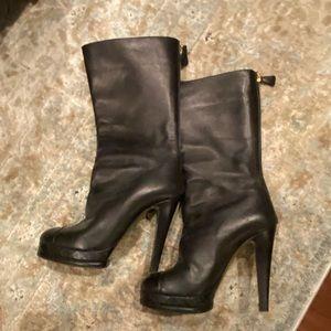 Chanel wedge stiletto black boots